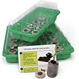 Seed Starting Kit - Complete Supplies - 3 Mini Sturdy Greenhouse Trays with Dome fits on Windowsill, Fiber Soil Pods, Instructions. Indoor/Outdoor Gardening. Grow Herbs, Flowers and Vegetables.