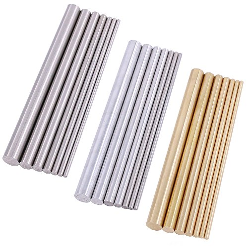 Swpeet 21Pcs Metal Round Rods Kit, 3 Kinds of Metal Materials Including Stainless Steel, Brass and Aluminum Perfect for for DIY Craft Tool - Diameter 2mm-8mm Length 100mm