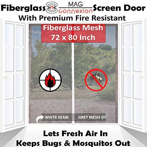Premium 72'x80' White Magnetic Screen Door for French Door with Grey Fire-Resistant Fiberglass Mesh | Bug & Mosquito Proof, Kids & Pets Friendly | Fit Doors up to 70' x 79'