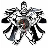 Superman - DC Comics character superhero vinyl wall clock- Modern room decor - Unique Handmade gift for friends and someone you love