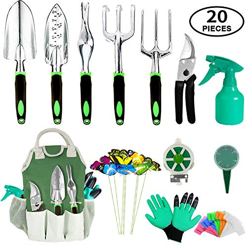 AOKIWO 11 Garden Tools Set Heavy Duty Aluminum Manual Garden kit, 20 Pieces, Green