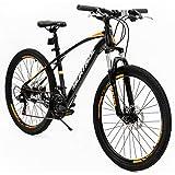 Murtisol Mountain Bike Men's and Women's Bike Fast Speed 26'' 21 Speed Hybrid Bicycle Steel Frame Commuter Bike (Orange&Black)