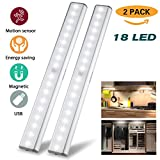 Under Cabinet Lights Closet Lights Motion Sensor 18 LEDs USB Rechargeable Wireless Under Cabinet Lighting,Magnetic Stick On Anywhere LED Night Lights for Closet/Drawer/Cupboard,White Light,2 Pack
