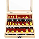 KOWOOD Tongue and Groove Set of 24 Pieces 1/4 Inch Shank Router Bit Set T Shape Wood Milling Cutter