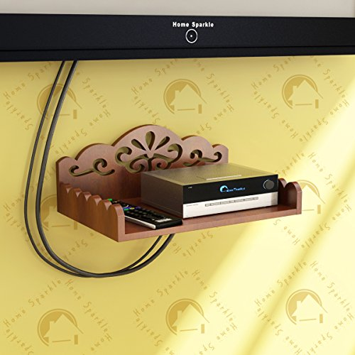 Home Sparkle Carved Engineered Wood Set Top Box Holder| WiFi-Modem Holder|Suitable for LivingRoom/Bedroom-Brown (Designed by Craftsman) 166