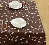 SUNTQ Cotton Linen Tablecloth Leaf Embroidered Table Cover for Dinner Kitchen (Coffee, 52x70 inches)