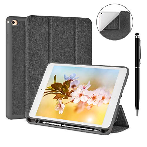 Soke iPad Mini 4 Case with Free Stylus Pen, Ultra Slim Smart Case Trifold Stand with Pen Holder and Soft TPU Back Cover [Auto Sleep/Wake Function] for Apple iPad Mini 4, Grey