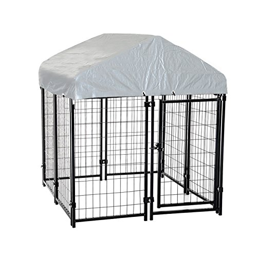 PawHut 97' x 46' Outdoor Galvanized Metal Dog Kennel Playpen with UV and Water Resistant Tarp Cover