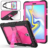 SEYMAC stock Galaxy Tab A 10.5 T590/T595/T597 Case, Full-Body [Heavy Duty] & [Shock Proof] Hybrid Armor Protective Case with Stand & Shoulder Strap for Samsung 10.5 Tablet SM-T590/T595 (Rose+Black)