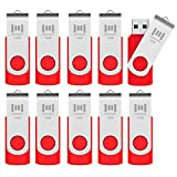 MOSDART 16GB 10Pack in Bulk USB 2.0 Flash Drives Swivel Keychain Thumb Drievs with Led Indicator,Red 10pcs