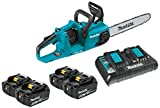 """Makita XCU03PT1 18V X2 (36V) LXT Lithium-Ion Brushless Cordless 14"""" Chain Saw Kit with, 4 Batteries (5.0Ah)"""
