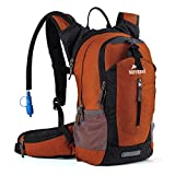 Hiking Insulated Hydration Backpack Pack with 2.5L BPA FREE Water Bladder- Keeps Liquid Cool up to 4 Hours, Lightweight Daypack For Hiking Running Cycling Camping School Commuter, 18L Dark Orange