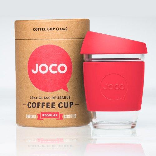 JOCO Glass Reusable 12oz Coffee Cup (Red)
