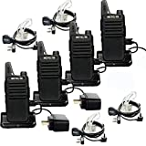 Retevis RT22 Team Walkie Talkie 16 CH UHF VOX Two Way Radios with USB Charging Base(4 Pack) and 2 Pin Covert Air Acoustic Earpiece(4 Pack)