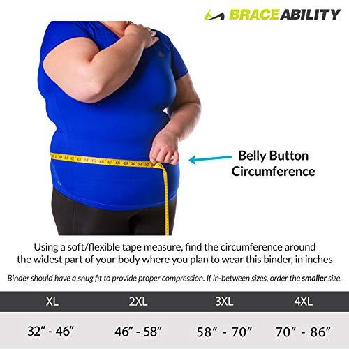 BraceAbility 4XL Plus Size Bariatric Abdominal Stomach Binder | Obesity Girdle Belt for Big Men & Women with a Large Belly, Post Surgery Tummy & Waist Compression Wrap 2