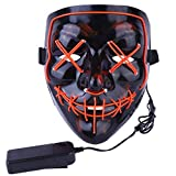 atimier Halloween Mask LED Light up Purge Mask for Festival Cosplay Halloween Costume(Orange Light)