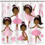 Riyidecor Pink Ballet Shower Curtain Cute Girl Ballerina Dancer Skirt Gymnastic Kid Nursery Bathroom Child Fabric Waterproof for Bathtub 72x72 Inch Included 12-Pack Plastic Shower Hooks