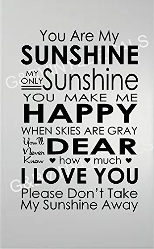 YOU ARE MY SUN SHINE QUOTE WALL DECAL SUBWAY ART VINYL DECAL