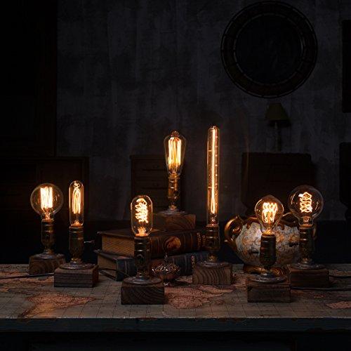 OYGROUP Vintage Weathered Wood Table LampWooden Base
