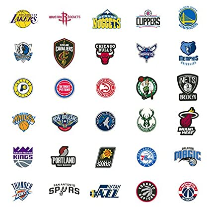 30 Nba Stickers Basketball Team Logo Complete Set All 30 Teams Die Cut