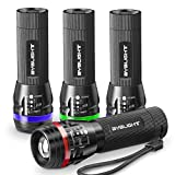 Pack of 4 Flashligts, BYBLIGHT Small Flashlight with Colored Band, Zoomable, 150 Lumens LED Flashlight, 3 Modes for Indoors and Outdoors(Car, Emergency, Capming and Kids) (Colorful)