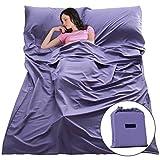 Sleep Sack Sleeping Bag Liners Lightweight Portable Sleeping Sheet Dirt-Proof Compact Travel Camping Sheet for Outdoor Travel Hiking Hotels Picnics (Purple, 83x63'')