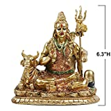 Lord Shiva Statue with Nandi - 6.3'H Polystone Hindu God Shiva India Buddha for Home Temple and Mandir,Resin Indian Shiva Lingam Figurine for Home Decor,Wedding Décor and Return Gifts,Diwali Gifts