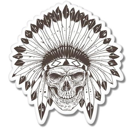 Amazon Com Ak Wall Art Indian Chief Skull Headdress Vinyl Sticker Car Window Bumper Laptop Select Size Home Kitchen