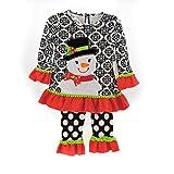 Emily Rose Black White Red Snowman Shirt Dress Leggings 2 Pc Set Size 2T