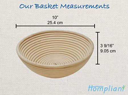 10-Inch-Round-Banneton-Bread-Proofing-Basket-Set-1-pack-Natural-Rattan-Bread-Proofing-Basket-kit-for-sourdough-and-bread-making-bowl--Ideal-for-Professional-Home-Artisan-Bread-Bakers