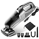 Gugusure GSR-New Silver Grey 4000pa Corded High Power, Lightweight Handheld Vacuum Cleaner for Car Interior Cleaning with 14.7Ft Cable, 120W DC 12V