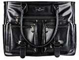 6 Pack Fitness Renee Leather Tote with Insulated Meal Management System, Black (25405)