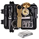 TRSCIND Survival Gear Kits 13-in-1 Outdoor Emergency SOS Survive Tool for Wilderness/ Trip/ Cars/ Hiking/ Camping Gear - Wire Saw, Emergency Blanket, Flashlight, Tactical Pen, Water Bottle Clip ect