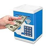 Zonkin Electronic Password Piggy Bank Kids Safe Bank Mini ATM Electronic Money Save Box Cash Coin Can (Blue White)