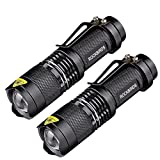 2 Pack Flashlights, ROCKBIRDS LED Flashlight with Belt Clip, Fluorescent Ring, Zoomable, High Lumen, 3 Modes, Water Resistant- Best Tools for Camping, Outdoor, Emergency