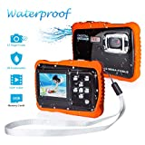 Underwater Camera for Kids, FLAGPOWER 12MP HD Waterproof Digital Camera, 2.0 Inch LCD Display 4X Digital Zoom 5MP CMOS Sensor with 16G Memory Card Flash