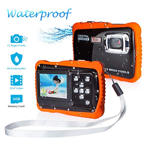 Waterproof Camera for Kids, FLAGPOWER Kids Waterproof Camera for Boys and Girls, 12MP HD Action Sport Camcorder with 2.0 Inch LCD Display 4X Digital Zoom 5MP CMOS Sensor 16G Memory Card Flash
