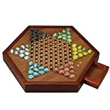 Younglingn 12.5'All Natural Wood Chinese Checkers with Storage Drawer and Glass Marbles Checkers Board Games for Family
