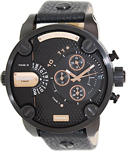 511DqY2gVZL Watch in black-and-gold-tone color scheme featuring textured dial with screw accents and multifunction subdials 61 mm stainless steel case with mineral dial window Quartz movement with analog display