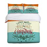 EZON-CH King Size Soft Children Duvet Cover Set for Teen Kids Girls Boys,Quote Merry Christmas Colorful Pattern Bedding Sets,Include 1 Comforter Cover with 2 Pillow Cases