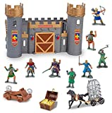 Liberty Imports Medieval Castle Knights Action Figure Toy Army Playset with Assemble Castle, Catapult and Horse-Drawn Carriage (Bucket of 8 Soldier Figurines)