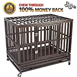 Haige Pet Your Pet Nanny 38'' Heavy Duty Dog Crate Cage Kennel and Playpen Steel Strong Metal for Medium and Large Dogs with Patent Lock and Four Lockable Wheels, Black