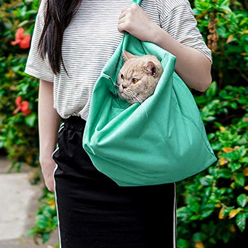 Tyhocent Pet Dog Cat Carrier Sling Hands Free Puppy Outdoor Travel Bag Portable Pet Shoulder Bag Nail Clipping Cleaning Grooming Bag, Washable and Foldable,Fit Below 18lb Cats&Dogs (Green)