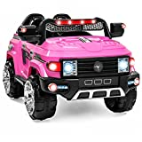 Best Choice Products 12V Kids Battery Powered RC Remote Control Truck SUV Ride-On Car w/ 2 Speeds, LED Lights, MP3, AUX Cord - Pink