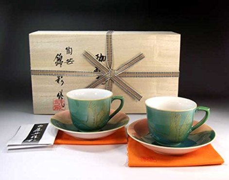 Japanese traditional crafts | Arita - MidoriAyaçÖ‹àAya auspicious Fuji crane picture coffee cup pair set | potter Fujii NishikiAya