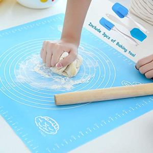 Silicone Rolling Mat with Cream Spatula, Mixing Shovel, Baking Oil Brush- Non Stick Pastry Mat with Measuring Guide (39.5 x 49.5cm) for Cake Decorating – Baking Mat – Kneading Mat – Cookie Dough Mat 511HMDIczmL