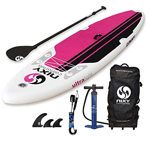 NIXY All Around Inflatable Stand Up Paddle Board Package. Ultra Light 10'6' Board Built with Advanced Fusion Laminated Dropstitch Technology and 2 YR Warranty (Pink)
