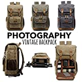 Hot Premium Vintage Photography Backpack Waterproof Photography Canvas Bag (Army Green, Inner Size:10X5.5X7.8;External :11.8X7.4X16.53inch)