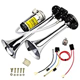 GAMPRO 12V 150db Air Horn, Chrome Zinc Dual Trumpet Air Horn with Compressor for Any 12V Vehicles Trucks Lorrys Trains Boats Cars Vans