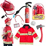 Born Toys 8 PC Premium Washable Kids Fireman Costume Toy for Kids,Boys,Girls,Toddlers, and Children with Complete Firefighter Accessories Great for Halloween
